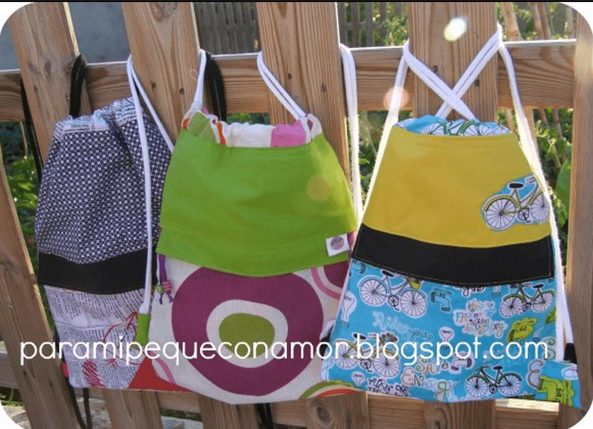 Sencilla mochila de tela con bolsillos telas divinas - Colgador de tela con bolsillos ...