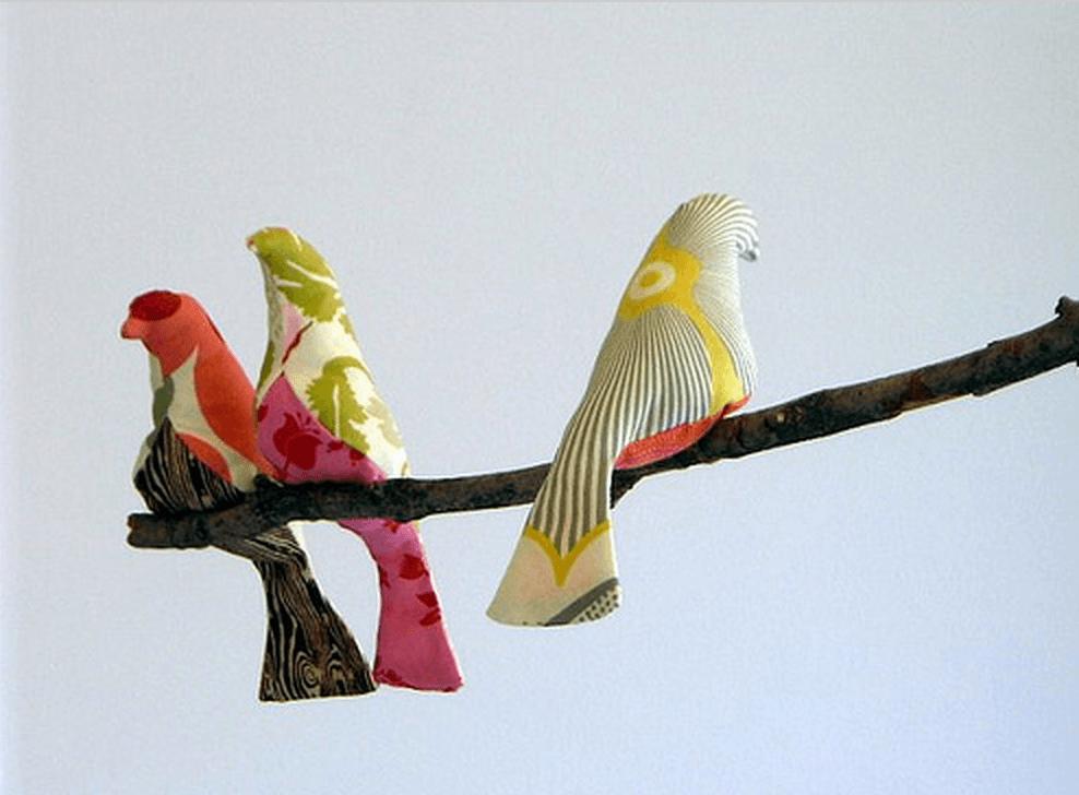 pájaros de tela