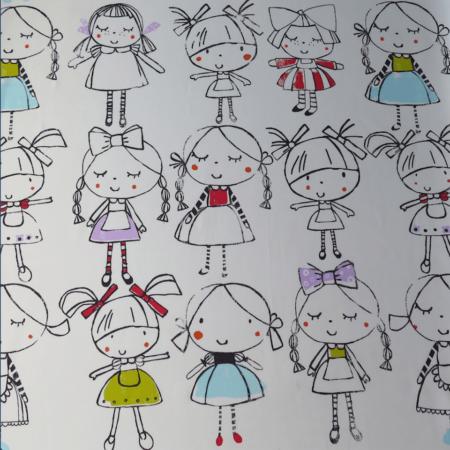 tela estampada infantil muñecas