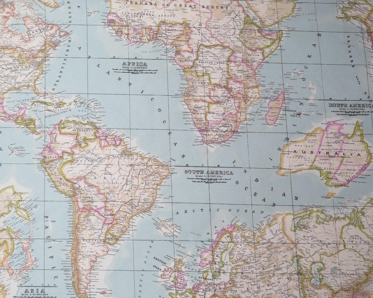 Tela mapa mundi en color azul celestetelas divinas tienda for Mapa del mundo decoracion