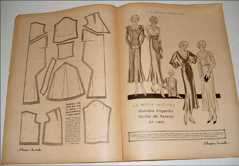 antiguas revistas de moda y patronaje