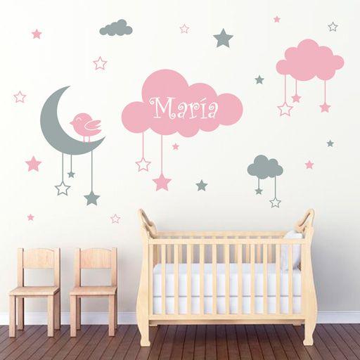 Ideas para decorar con estrellas lunas y nubes telas for Vinilos para habitaciones de ninos