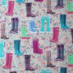 tela estampada botas de agua