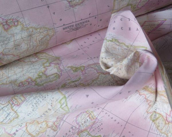 tela mapa mundi rosa