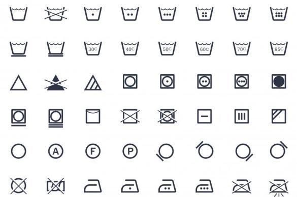 símbolos de lavado de la ropa