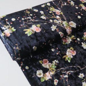 tela terciopelo flores noche