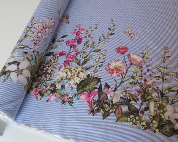 tela popelin flores rayas