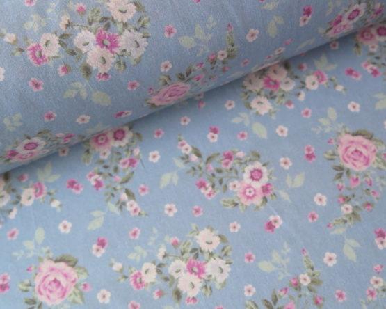 tela popelin flores azul
